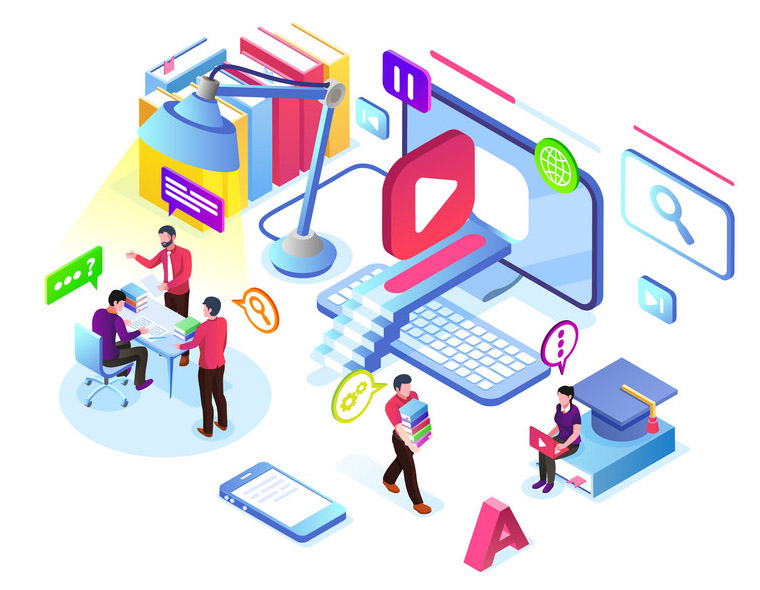 People learning online video tutorial. Isometric virtual training room. Internet study or web course technology. E-learning school or college, university or video service banner. Coaching and lesson